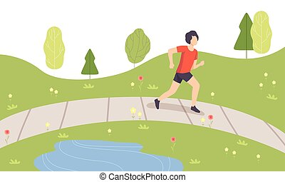 Young Man Running in Park, Guy Doing Physical Activities Outdoors, Healthy Lifestyle and Fitness Vector Illustration