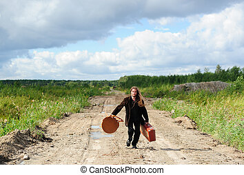 Young man running with his goods and chattles