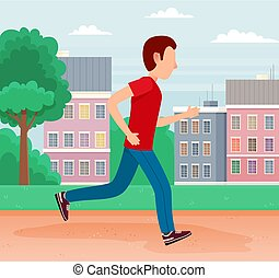 Young man runs down the street to work. Worker racing to office. Job seeker hurrying up to interview