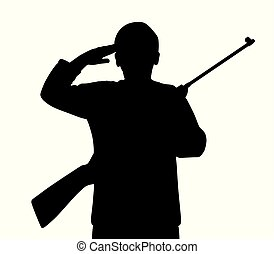 Young man saluting with gun - Illustration silhouette of a...