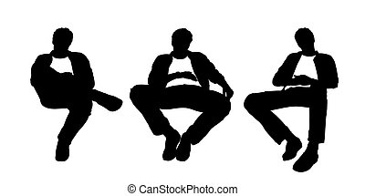 black and white silhouettes of a young handsome relaxed man seated in a lounge chair in different postures