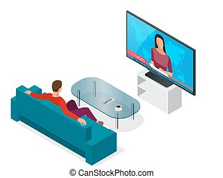 Young man seated on the couch watching tv, changing channels. Flat 3d vector isometric illustration.