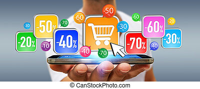 Young man shopping during sales period - Businessman using...