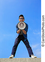 young man shout megaphone