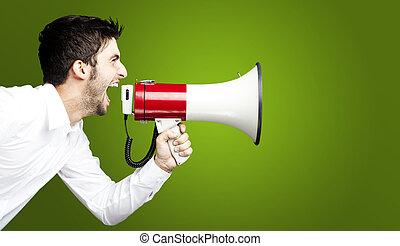 young man shouting