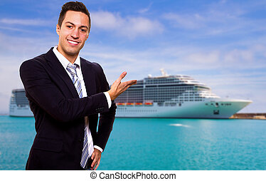 Young man show the Cruise Ship