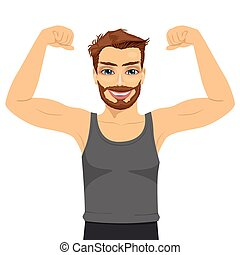 Young man showing his muscles. Fit fitness strenght health...