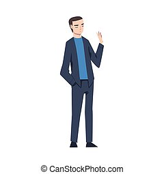 Young Man Showing Rejection and Refusal Gesture with His Hand Vector Illustration