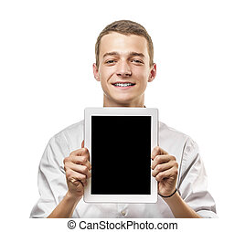 Young man showing tablet pc.