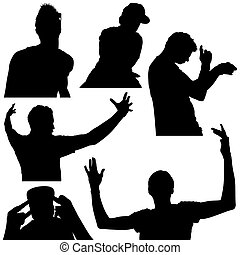 Young Man Silhouette Set