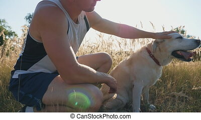 Young man sits on grass at meadow and strokes his labrador....