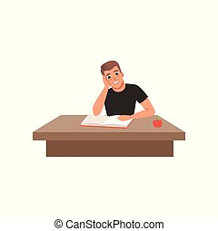 Young man sitting at the desk and reading book, student in learning process vector Illustration on a white background