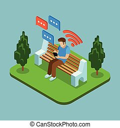 Young man sitting in the park and sending messages with smartphone. Vector 3d isometric illustration