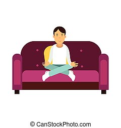 Young man sitting on a sofa and meditating in lotus pose vector Illustration