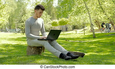 man sitting on a tree stump in the Park and works with laptop