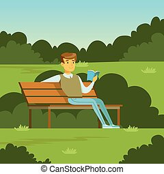 Young man sitting on the bench in the park and reading a book, flat vector illustration