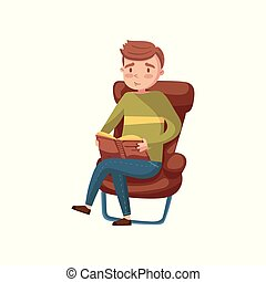 Young man sitting on the chair and reading a book cartoon vector Illustration