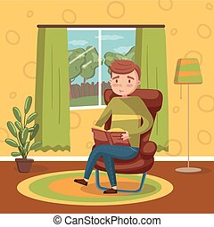 Young man sitting on the chair and reading a book, room interior vintage style home vector Illustration