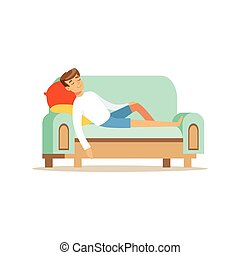 Young man sitting on the sofa and sleeping, relaxing person vector Illustration