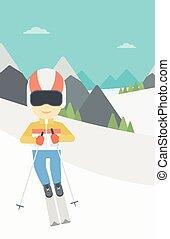 Young man skiing vector illustration.