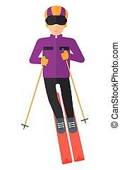 Young man skiing.