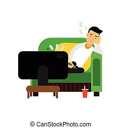 Young man sleeping in front of the TV cartoon vector illustration