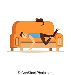 Young man sleeping on orange sofa, relaxing person vector Illustration