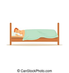 Young man sleeping on stomach in his bed, relaxing person vector Illustration