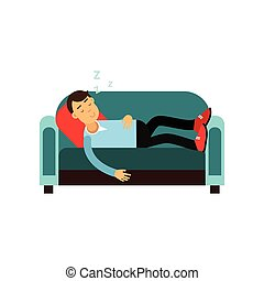 Young man sleeping on the sofa, relaxing person cartoon vector illustration