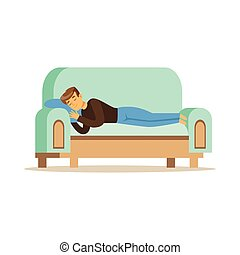 Young man sleeping on the sofa, relaxing person vector Illustration