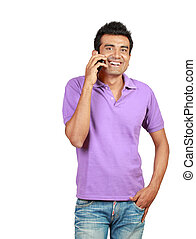 young man smiling using a mobile phone