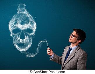 Young man smoking dangerous cigarette with toxic skull smoke...