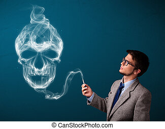 Young man smoking dangerous cigarette with toxic skull smoke...