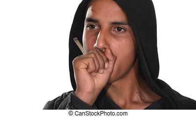 young man smoking hashish