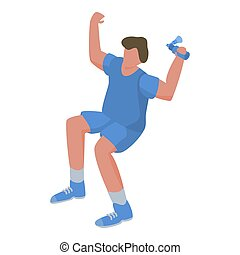 Young man soccer supporter icon, isometric style