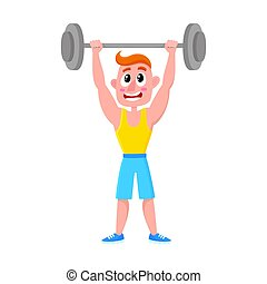 Young man squatting with barbell, doing sport exercises in gym