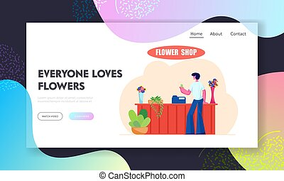 Young Man Stand at Counter Desk in Flower Shop Website Landing Page, Customer Visiting Floristic Store for Choosing Buying Bouquet, Florist Workplace Web Page. Cartoon Flat Vector Illustration, Banner