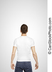 young man standing back