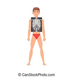 Young Man Standing in Undershorts Doing His Chest Roentgen Vector Illustration. Medical Investigation Concept