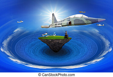 young man standing on floating island with air plane flying...