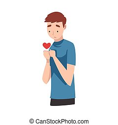 Young Man Standing Sadly With Heart Vector Illustration