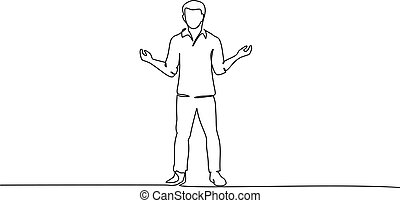 Young man standing surprised. One line drawing - Continuous ...