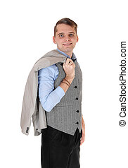 Young man standing whit his jacket over shoulder