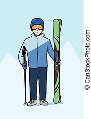Young man standing with mountain ski. Winter sports, skiing. Vector illustration.