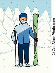 Young man standing with mountain skis at background of snow-covered forest. Winter sport. Vector illustration.