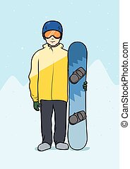 Young man standing with snowboard. Winter sports, snowboarding. Vector illustration.