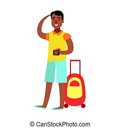 Young man standing with suitcase and holding camera in his hand. Colorful cartoon character isolated on a white background