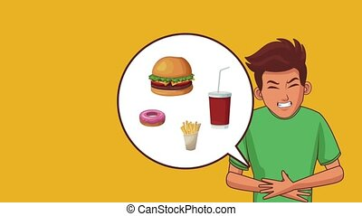 Young man stomach ache HD animation - Young man with stomach...