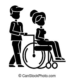 young man strolling with woman in wheelchair, nursing care for disabled people  icon, vector illustration, sign on isolated background