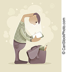 Young man student with tablet smartphone. Eps10 vector...